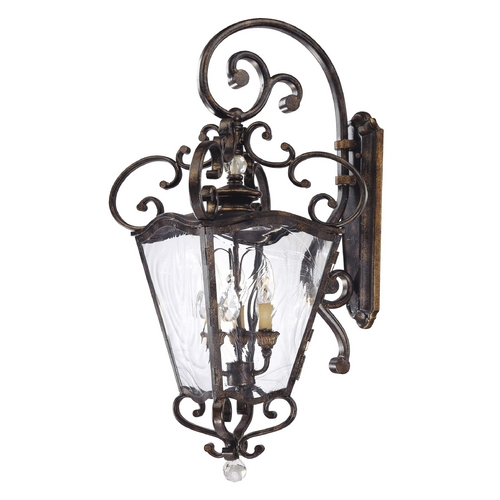 Metropolitan Lighting Outdoor Wall Light with Clear Glass in Patina / Gold Leaf Finish N3247-270