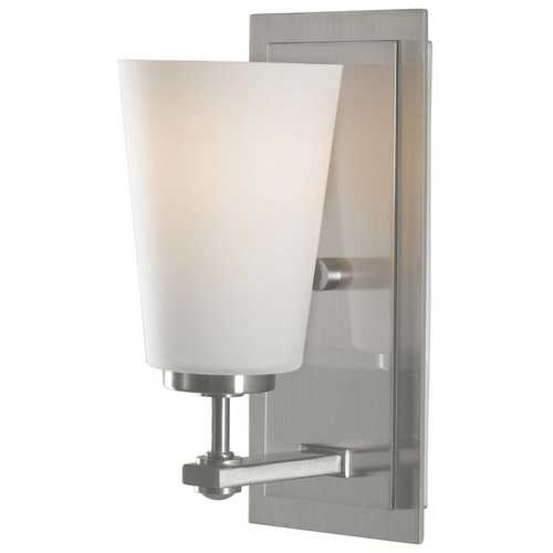 Sea Gull Lighting Modern Sconce Wall Light with White Glass in Brushed Steel Finish VS14901-BS