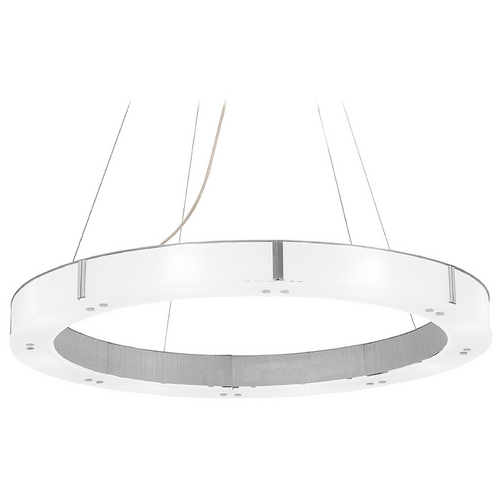Access Lighting Modern Drum Pendant Light with White Glass in Aluminum Finish 50466-BS/FST