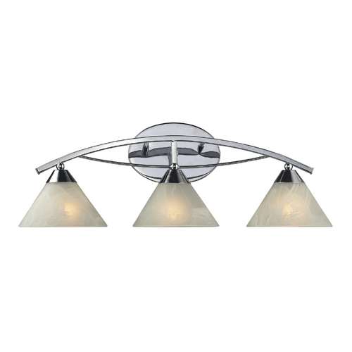 Elk Lighting Modern Bathroom Light with White Glass in Polished Chrome Finish 17023/3