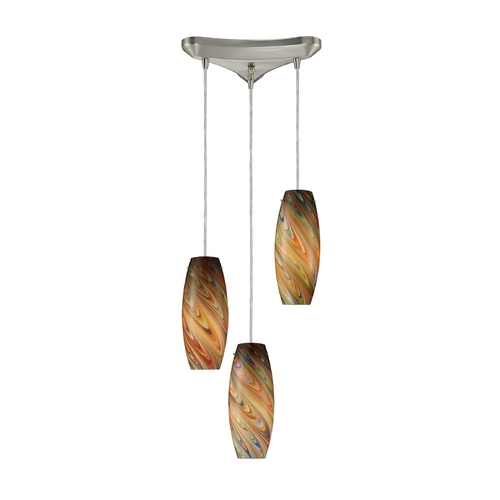 Elk Lighting Modern Multi-Light Pendant Light with Multi-Color Glass and 3-Lights 10079/3RV