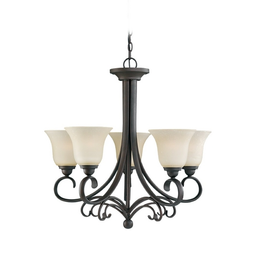 Sea Gull Lighting Chandelier with Beige / Cream Glass in Chestnut Bronze Finish 31122-820