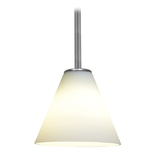 Access Lighting Modern Mini-Pendant Light with White Glass 28004-1R-BS/WHT