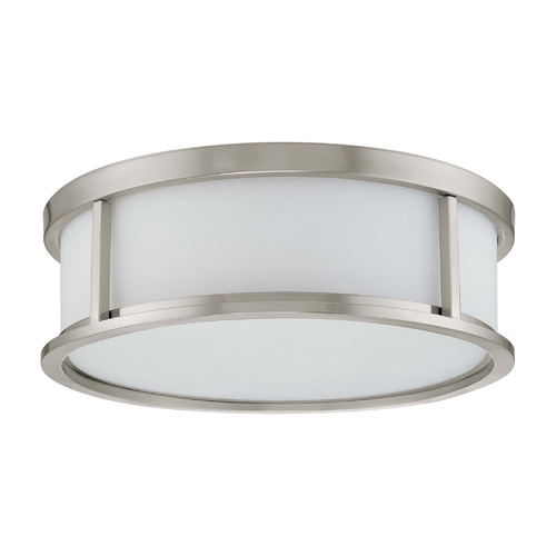 Nuvo Lighting Flushmount Light with White Glass in Brushed Nickel Finish 60/3812