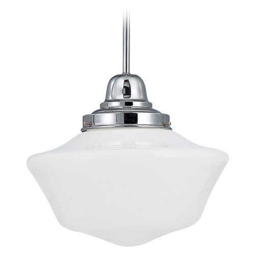 Design Classics Lighting 14-Inch Chrome Schoolhouse Pendant Light FB6-26 / GA14