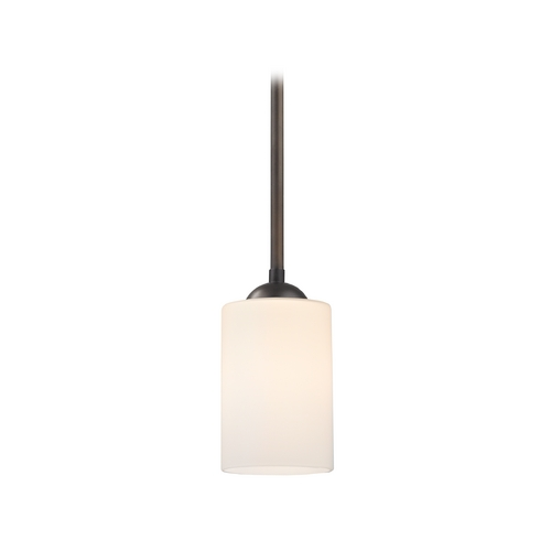 Design Classics Lighting Mini-Pendant Light with Satin White Cylinder Glass Shade in Bronze 581-220 GL1028C