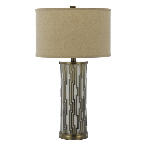 AF Lighting Modern Table Lamp with Brown Shade in Antique Brass Finish 8413-TL
