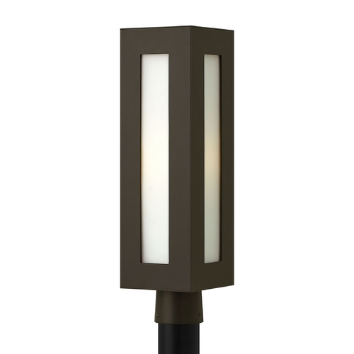 Hinkley Lighting Modern Post Light with White Glass in Bronze Finish 2191BZ-GU24