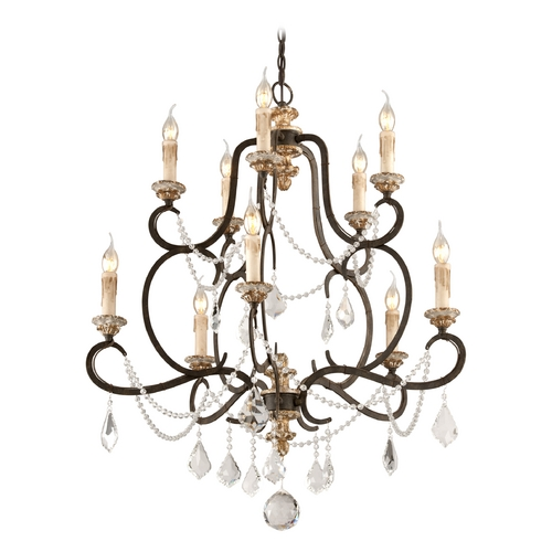 Troy Lighting Crystal Chandelier in Parisian Bronze Finish F3516