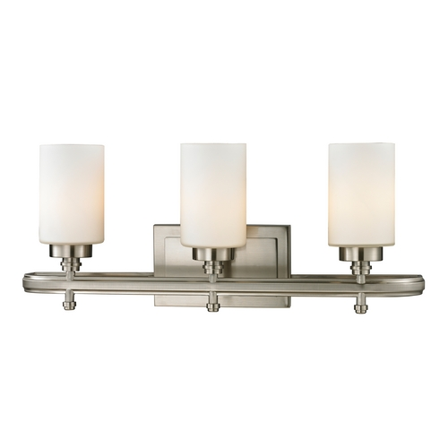 Elk Lighting Modern Bathroom Light with White Glass in Brushed Nickel Finish 11662/3