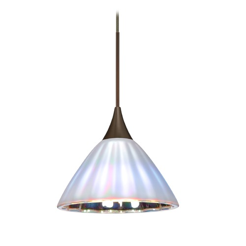Besa Lighting Besa Lighting Domi Bronze Mini-Pendant Light with Bell Shade 1XT-184395-BR