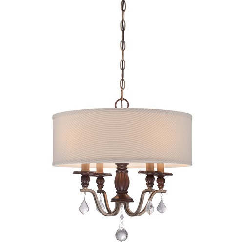 Minka Lavery Minka Gwendolyn Place Dark Rubbed Sienna Pendant Light with Drum Shade 4354-593