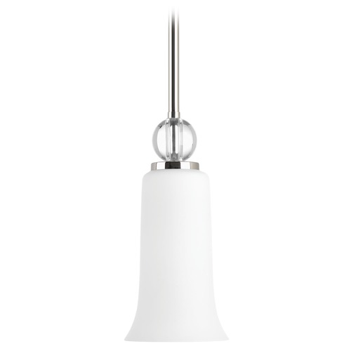 Progress Lighting Progress Lighting Elina Polished Nickel Mini-Pendant Light with Bell Shade P5606-104