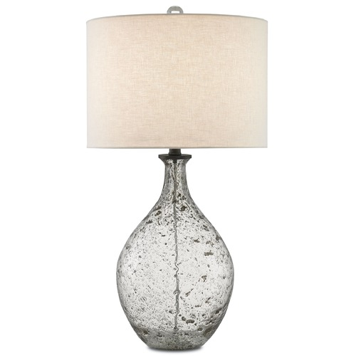Currey and Company Lighting Currey and Company Luc Clear Speckled Glass/steel Gray Table Lamp with Drum Shade 6000-0048