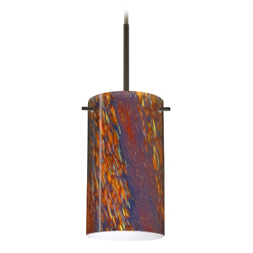Besa Lighting Besa Lighting Stilo Bronze Mini-Pendant Light with Cylindrical Shade 1BT-4404CE-BR