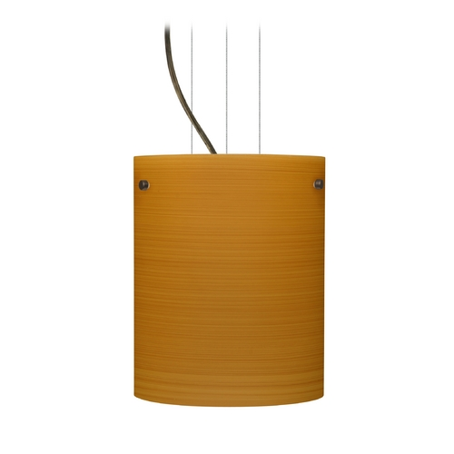 Besa Lighting Modern Pendant Light with Brown Glass in Bronze Finish 1KG-4006OK-BR