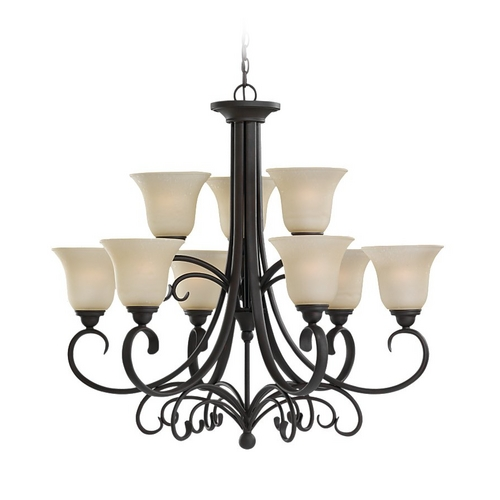 Sea Gull Lighting Chandelier with Beige / Cream Glass in Chestnut Bronze Finish 31123-820