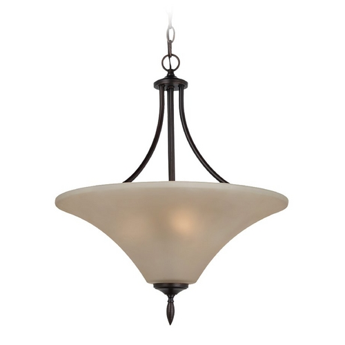 Sea Gull Lighting Pendant Light with Beige / Cream Glass in Burnt Sienna Finish 65181-710