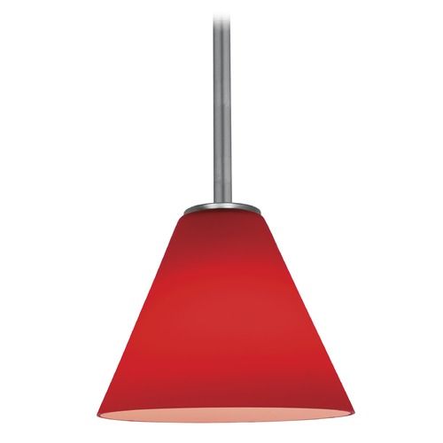 Access Lighting Modern Mini-Pendant Light with Red Glass 28004-1R-BS/RED