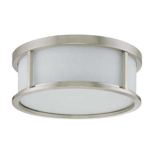 Nuvo Lighting Flushmount Light with White Glass in Brushed Nickel Finish 60/3813