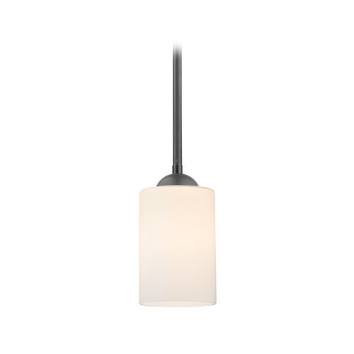 Design Classics Lighting Contemporary Mini-Pendant Light with Satin White Cylinder Glass 581-07  GL1028C