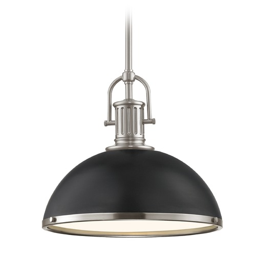 Design Classics Lighting Industrial Pendant Light Black and Satin Nickel 13.38-Inch Wide 1764-09 SH1776-07 R1776-09