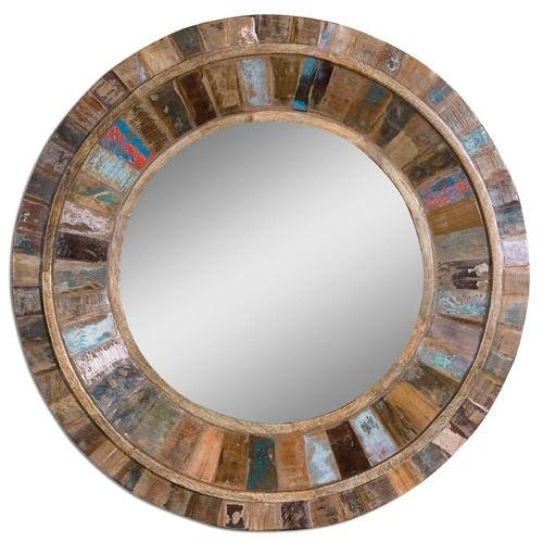 Uttermost Lighting Uttermost Jeremiah Round Wood Mirror 04017