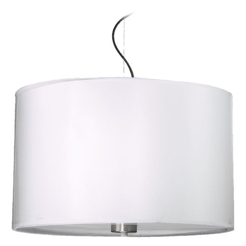 Quorum Lighting Quorum Lighting Cirrus Satin Nickel Pendant Light with Drum Shade 858-4-65