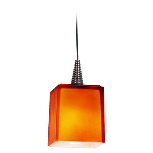 Access Lighting Access Lighting Zeta Bronze Mini-Pendant Light with Square Shade 94918-BRZ/AMB