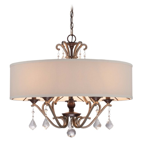 Minka Lavery Minka Gwendolyn Place Dark Rubbed Sienna Pendant Light with Drum Shade 4355-593