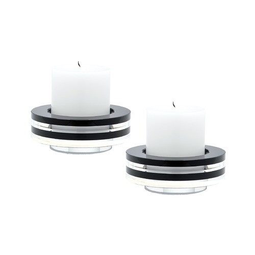 Dimond Home Round Tuxedo Crystal Candleholder - Set Of2 980025/S2