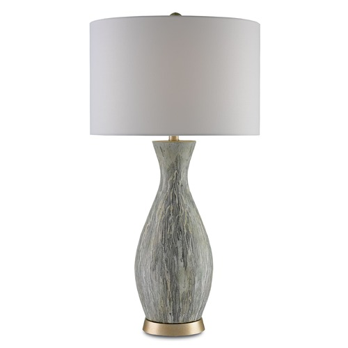 Currey and Company Lighting Currey and Company Rana Light Green, White Drip Glaze/silver Leaf Table Lamp with Drum Shade 6000-0049