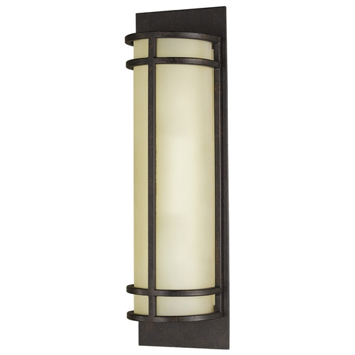 Feiss Lighting Modern Sconce Wall Light with Amber Glass in Grecian Bronze Finish WB1282GBZ