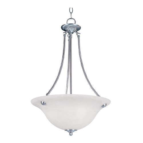 Maxim Lighting Pendant Light with White Glass in Satin Nickel Finish 2682MRSN