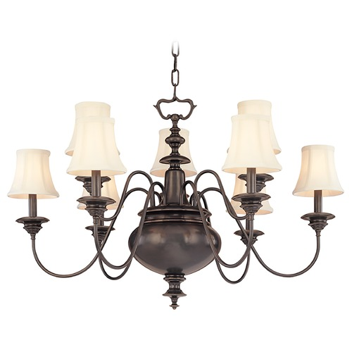 Hudson Valley Lighting Chandelier with White Shades in Old Bronze Finish 8719-OB