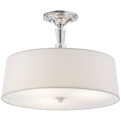 Kichler Lighting Kichler Crystal Ceiling Light with White Shade in Chrome Finish 42035CH