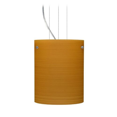 Besa Lighting Modern Pendant Light with Brown Glass in Satin Nickel Finish 1KG-4006OK-SN