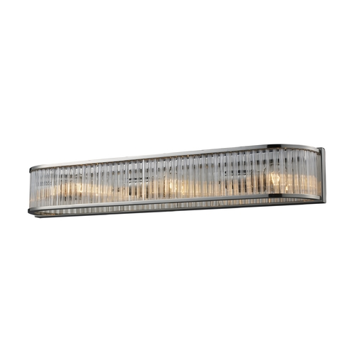 Elk Lighting Modern Bathroom Light with Clear Glass in Polished Nickel Finish 10127/3