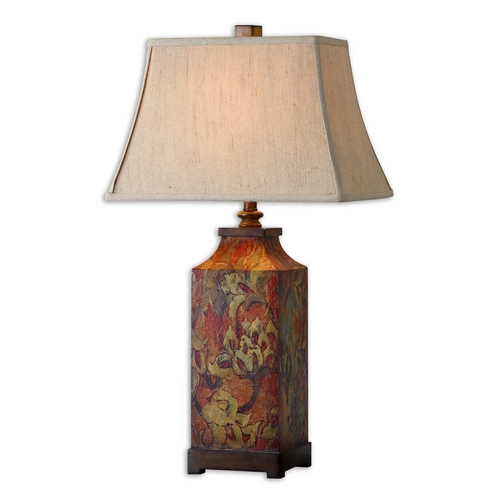 Uttermost Lighting Table Lamp with Beige / Cream Shade in Burnished Walnut Finish 27678