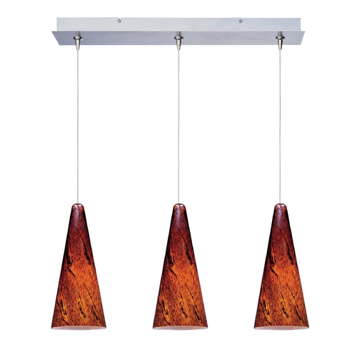 ET2 Lighting Modern Low Voltage Multi-Light Pendant Light with Amber Glass and 3-Lights E94829-102SN