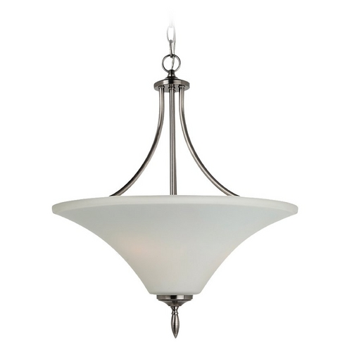 Sea Gull Lighting Pendant Light with White Glass in Antique Brushed Nickel Finish 65181-965