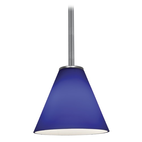 Access Lighting Modern Mini-Pendant Light with Blue Glass 28004-1R-BS/COB