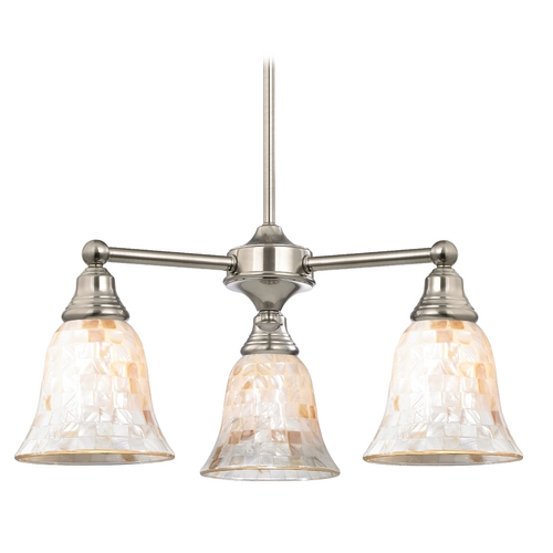 Design Classics Lighting Mosaic Glass Mini-Chandelier in Satin Nickel Finish 598-09 GL9222-M