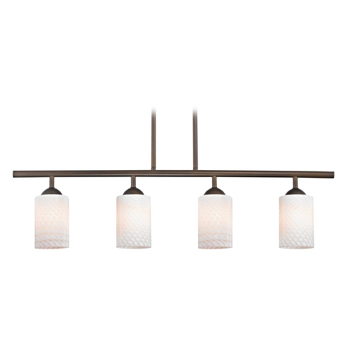 Design Classics Lighting Modern Island Light with White Glass in Neuvelle Bronze Finish 718-220 GL1020C