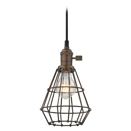 Design Classics Lighting Retro Hoyt Bronze Mini-Pendant Light With Cage  CA1-220 CAGE1-220