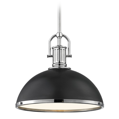 Design Classics Lighting Farmhouse Pendant Light Black with Chrome Accents 13.38-Inch Wide 1764-26 SH1776-07 R1776-26