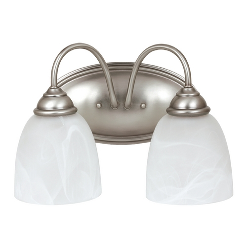 Sea Gull Lighting Bathroom Light with Alabaster Glass in Antique Brushed Nickel Finish 44317BLE-965