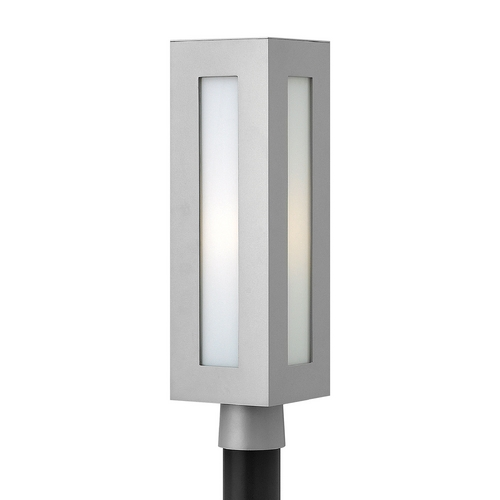 Hinkley Lighting Modern Post Light with White Glass in Titanium Finish 2191TT-GU24