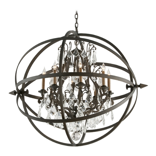 Troy Lighting Crystal Orb Chandelier Pendant Light in Vintage Bronze Finish F2998