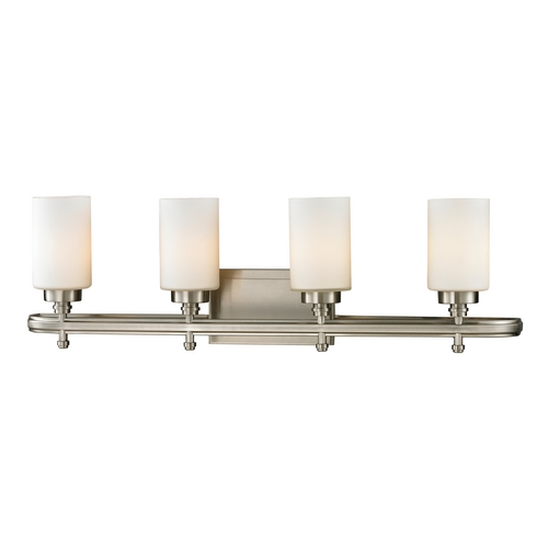 Elk Lighting Modern Bathroom Light with White Glass in Brushed Nickel Finish 11663/4